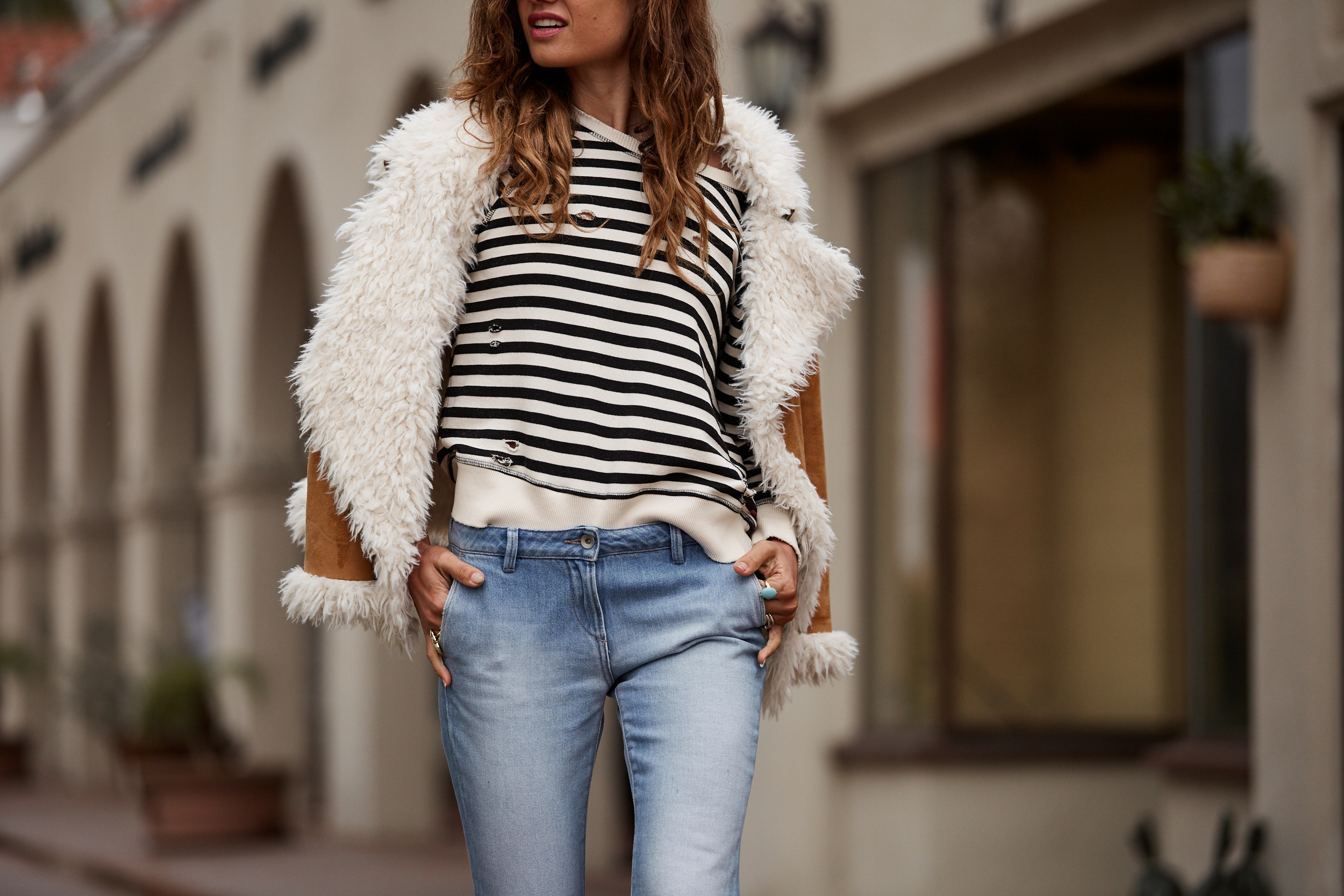 Stripe, Shearling, Casual Chic, Momstyle